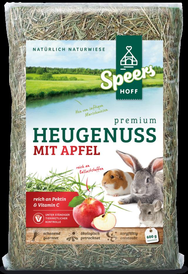 600 Gramm Verpackung Speers Hoff Produkt Premium Heugenuss mit Apfel für Kaninchen, Chinchillas und Meerschweinchen