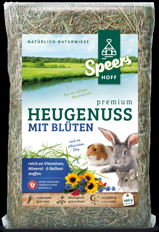 600 Gramm Verpackung Speers Hoff Produkt Premium Heugenuss mit Blüten für Kaninchen, Chinchillas und Meerschweinchen