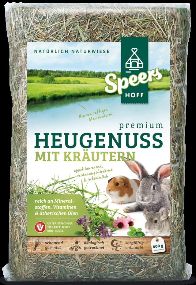 600 Gramm Verpackung Speers Hoff Produkt Premium Heugenuss mit Kräutern für Kaninchen, Chinchillas und Meerschweinchen