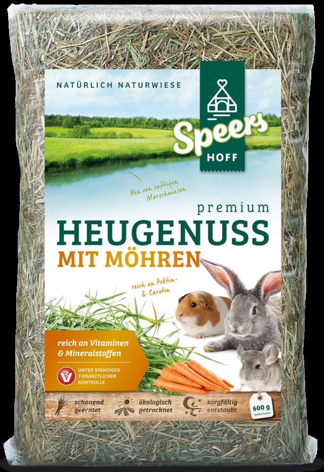 600 Gramm Verpackung Speers Hoff Produkt Premium Heugenuss mit Möhren für Hasen, Chinchillas und Meerschweinchen