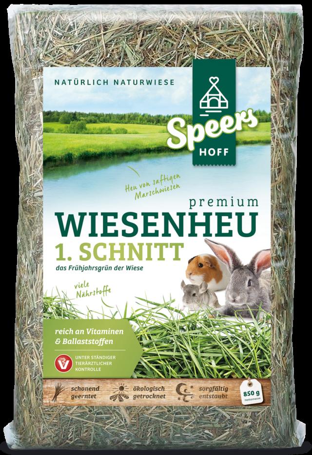 850 Gramm Verpackung Speers Hoff Produkt Premium Wiesenheu 1. Schnitt für Kaninchen, Chinchillas und Meerschweinchen