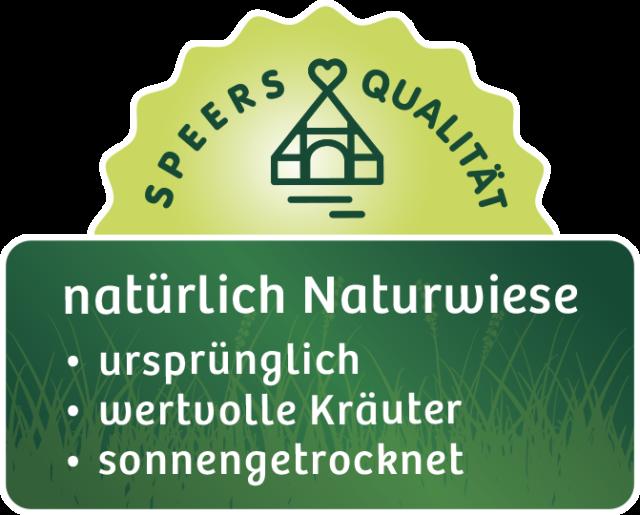 Logo von Speers Hoff mit Text Speers Qualität natürliche Naturwiese, ursprünglich, wertvolle Kräuter, sonnengetrocknet